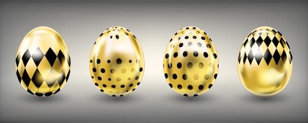 Glanzende gouden eieren van pasen met zwarte punt en rumb