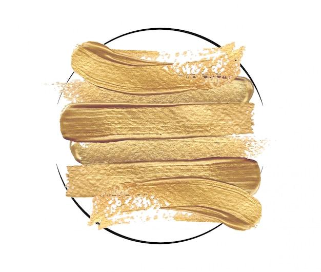 Glanzende gouden penseelstreken in een ronde frame op een witte achtergrond.
