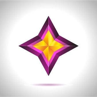 Glanzende gouden ster. kerstillustratie voor ontwerp op witte achtergrond