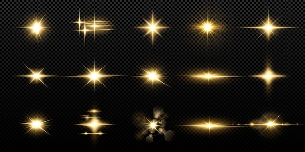 Glanzende gouden sterren die op zwarte achtergrond worden geïsoleerd. effecten, lensflare, glans, explosie, gouden licht, set. stralende sterren, prachtige gouden stralen.