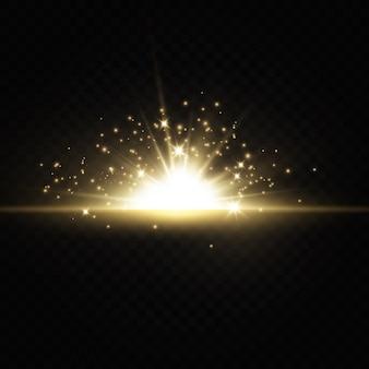 Glanzende gouden sterren geïsoleerd op transparante achtergrond.