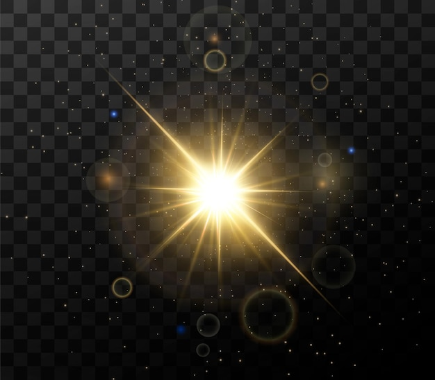 Glanzende gouden sterren geïsoleerd op zwarte achtergrond. effecten, lensflare, glans, explosie, gouden licht, set. stralende sterren, prachtige gouden stralen.