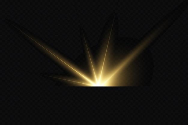 Glanzende gouden sterren lichteffecten schittering glitter explosie gouden licht vectorillustratie