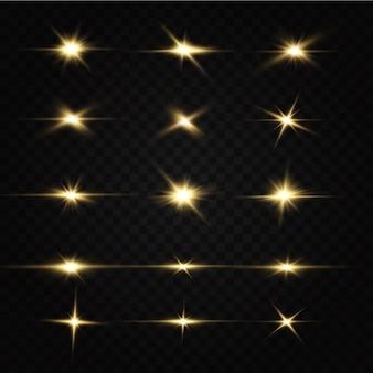 Glanzende gouden sterren lichteffecten schittering glitter explosie gouden licht