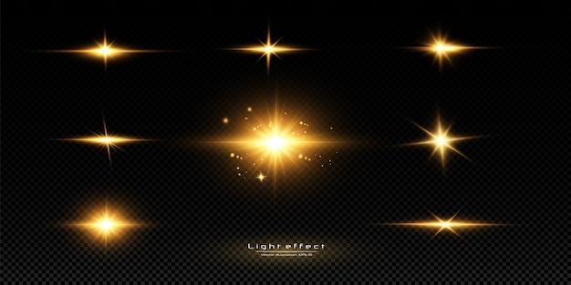 Glanzende gouden sterren op zwarte achtergrond. effecten, schittering, lijnen, glitter, explosie, gouden licht. illustratie. instellen.