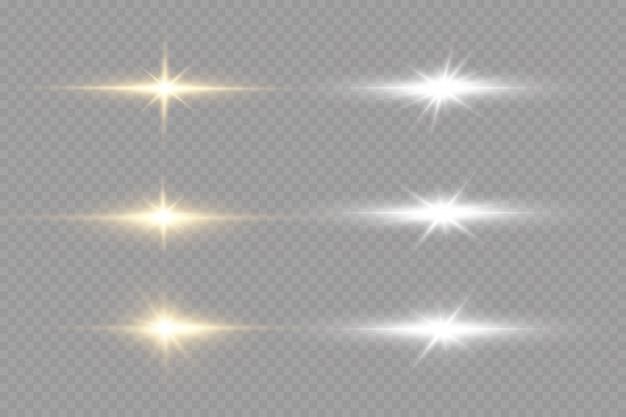 Glanzende gouden sterren op zwarte achtergrond. effecten, schittering, lijnen, glitter, explosie, gouden licht. illustratie