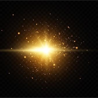 Glanzende gouden sterren op zwarte achtergrond.