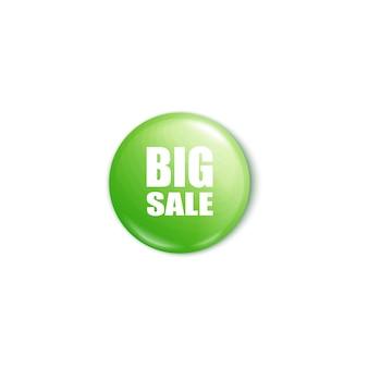 Glanzende groene grote verkoopknop d realistische afbeelding