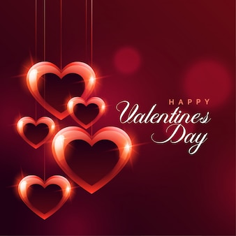 Glanzende hangende rode harten bokeh achtergrond