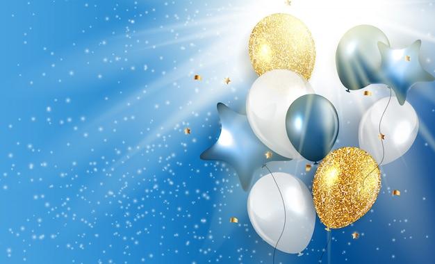 Glanzende happy birthday ballonnen achtergrond