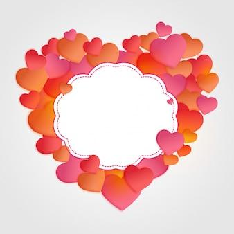 Glanzende hartballonnen en ruimte voor uw tekst, liefde of valentijnsdag concept.