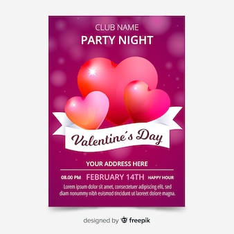 Glanzende harten valentijnsdag poster sjabloon