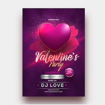 Glanzende hartvorm op paarse achtergrond voor valentijnsfeestje tem
