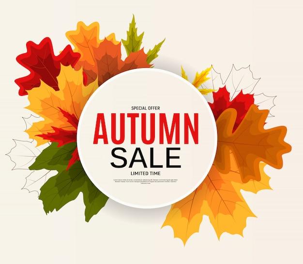 Glanzende herfstbladeren verkoop banner. kortingskaart voor bedrijven.