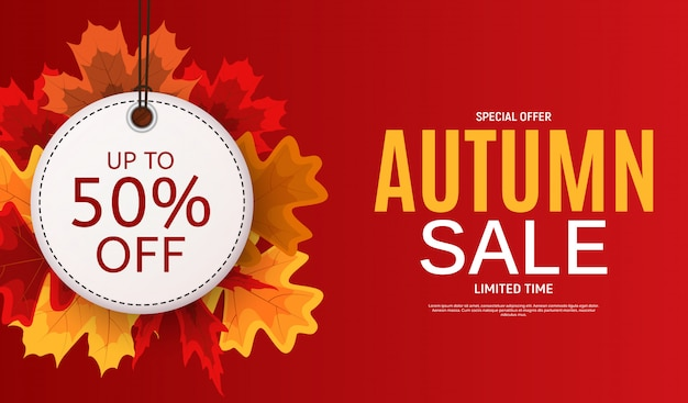 Glanzende herfstbladeren verkoop banner. kortingskaart voor bedrijven