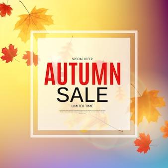 Glanzende herfstbladeren verkoop. zakelijke kortingskaart. illustratie