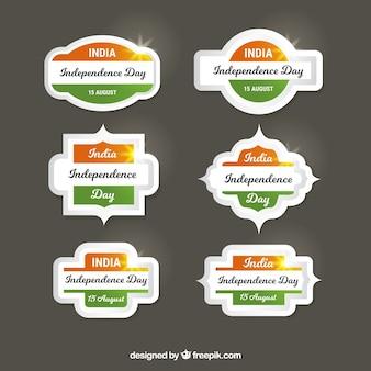 Glanzende india onafhankelijkheidsdag labels