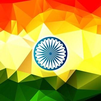 Glanzende indische vlag in veelhoekige ontwerp