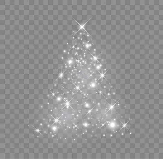Glanzende kerstboomillustratie met gloeiende deeltjes en sterren