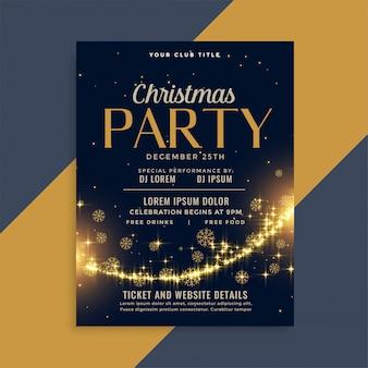 Glanzende kerstmis gouden sparkles partij flyer ontwerpsjabloon