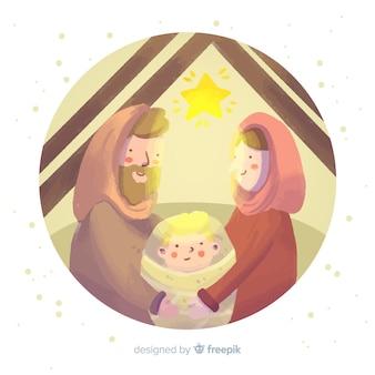 Glanzende kerststalachtergrond