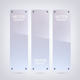 Glanzende lege verticale banners met glazen oppervlak