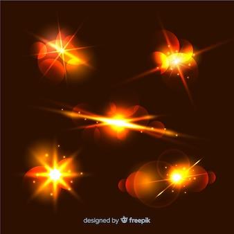 Glanzende lichteffecten ingesteld