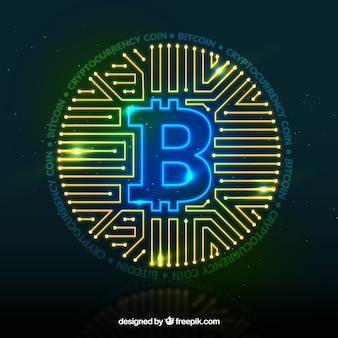 Glanzende moderne bitcoin achtergrond