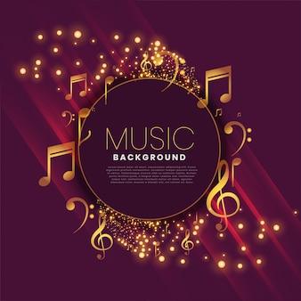 Glanzende muziekachtergrond met nota's en fonkeling