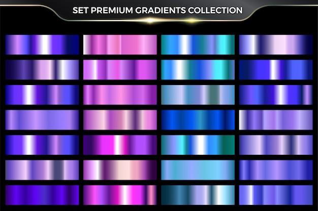 Glanzende neon glanzende metallic roze, paars, cyaan, blauw kleurverloop kleurrijke set collectie