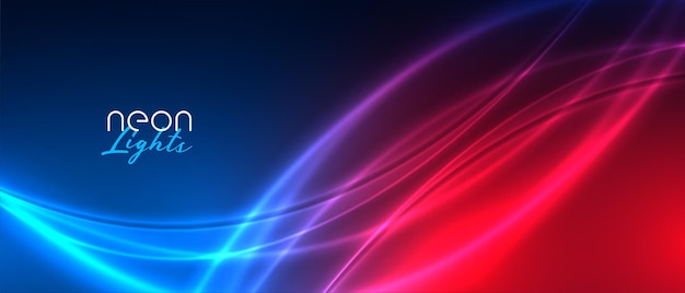 Glanzende neonlichtstreep rode en blauwe achtergrond