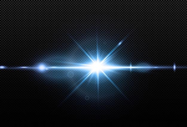 Glanzende neonsterren die op zwarte achtergrond worden geïsoleerd. effecten, lensflare, glans, explosie, neonlicht, set. stralende sterren, prachtige blauwe stralen. .