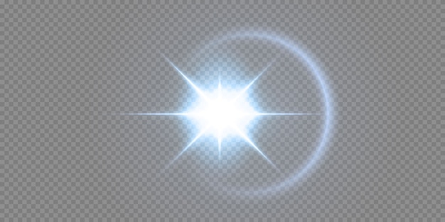 Glanzende neonsterren die op zwarte achtergrond worden geïsoleerd. effecten, lensflare, glans, explosie, neonlicht, set. stralende sterren, prachtige blauwe stralen. Premium Vector