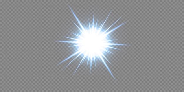 Glanzende neonsterren die op zwarte achtergrond worden geïsoleerd. effecten, lensflare, glans, explosie, neonlicht, set. stralende sterren, prachtige blauwe stralen.