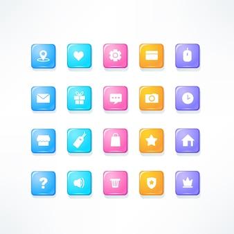 Glanzende pictogrammen ingesteld voor uw mobiele app of game