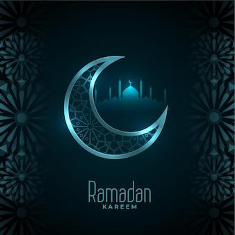 Glanzende ramadan kareem maan en moskee kaart ontwerp