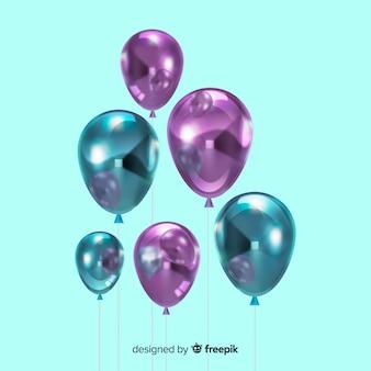 Glanzende realistische driedimensionale ballonachtergrond