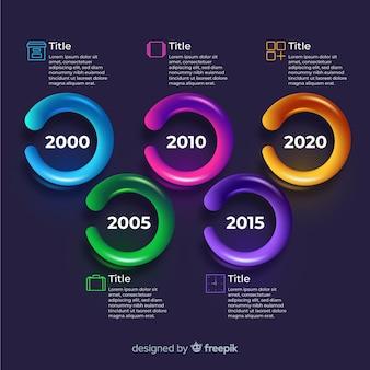 Glanzende realistische tijdlijn infographic