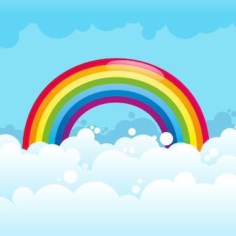 Glanzende regenboog in geïllustreerde wolken