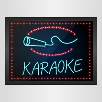 Glanzende retro led en neonlicht banner karaoke geïsoleerd
