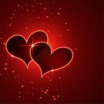 Glanzende rode de hartenachtergrond van de valentijnskaartendag