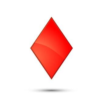 Glanzende rode diamant kaart pak pictogram op wit