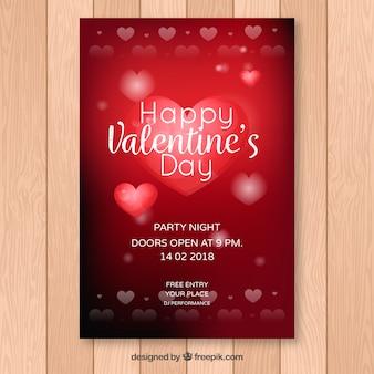 Glanzende rode valentijn flyer sjabloon