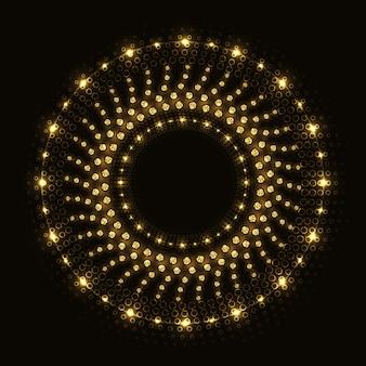 Glanzende ronde abstracte gouden ring