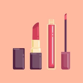 Glanzende rouge en rode lippenstift