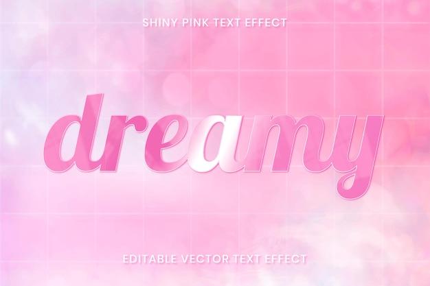 Glanzende roze teksteffect vector bewerkbare sjabloon