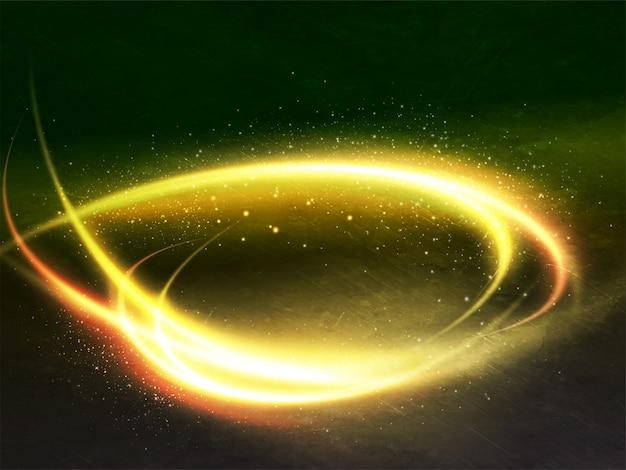 Glanzende spiraalvormige gouden verlichtings abstracte achtergrond.