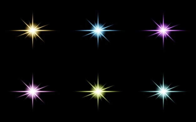 Glanzende ster sprankelende glow light effect set