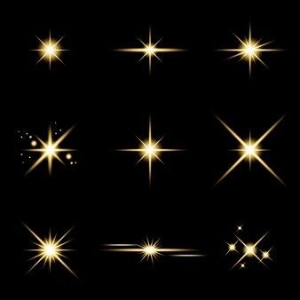 Glanzende ster sprankelende lichteffectenset