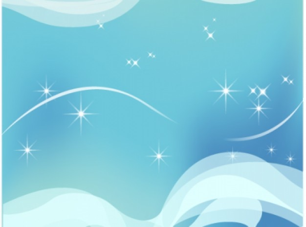 Glanzende sterren op sky-blauwe golvende abstracte achtergrond